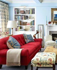 Red sofa in living room red couch white living room red couch living room decor . Blue Couch Living Room, Living Room Colors, Living Room Modern, Rugs In Living Room, Living Room Designs, Living Room Furniture, Rustic Furniture, Antique Furniture, Modern Furniture
