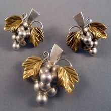 Mexico Sterling Silver Grapes Set Earrings Pendant Brooch