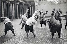Photographer Unknown Gymnastics, lose weight. Group fat women undergoing slimming course in a courtyard in New York, 1920s.