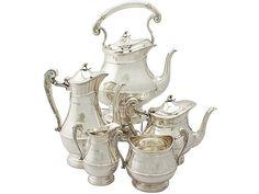 Sterling Silver Five Piece Tea and Coffee Service - Art Nouveau Style - Antique Edwardian  SKU: A4966 Price: GBP £6,950.00  http://www.acsilver.co.uk/shop/pc/Sterling-Silver-Five-Piece-Tea-and-Coffee-Service-Art-Nouveau-Style-Antique-Edwardian-67p8734.htm