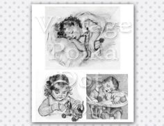 Printable Clip Art  Babies Vintage Graphic Illustrations from 1920's Sleeping Child Digital Instant Download