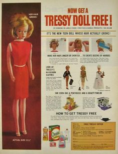 magazine ad for free Tressy doll from Proctor and Gamble products.  Exactly how my mom got one for me.