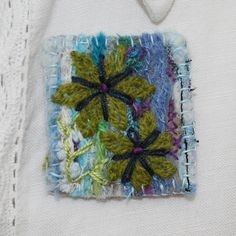 Embroidered Brooch - Fantasy Flowers on Blue £5.50 by Lynwoodcrafts