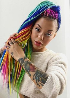 Rainbow Box Braids In a Ponytail