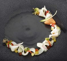 Sepia, red bell pepper, piccalilli and avocado Try your hand at three Michelin star chef, Peter Goossens' recipe Chef Recipes, Seafood Recipes, Piccalilli, Food Industry, Food Plating, Plating Ideas, Food Design, Food Presentation, Fine Dining