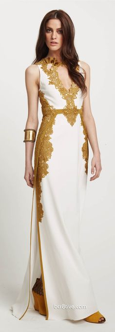 Elie Tahari Gold & White Gown