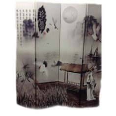 International 4-Panel 'Poet's Dream' Chinese Painting Room Divider
