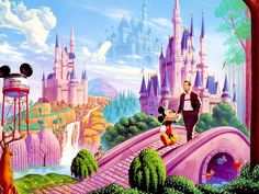 I have always loved this image!  I have it framed in my home - both of my favorite castles, my favorite mouse and of course, Walt himself!  As my kids always ask, can we go?