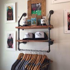 Industrielle Kleidung Rack und Doppelschale - Schrank Veranstalter - Wäscheservice Zimmer Regal - Kleiderbügel - rustikal