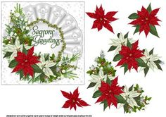 a decoupage sheet for Christmas which has an arrangement of red and white poinsettias with christmas greenery holly and ivy, all placed on a white ruffles mat trimmed with pearls and ivy has the words seasons greetings in centre of mat.  thank you for looking please take a peek at my other items