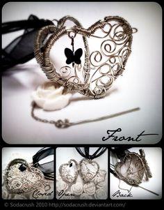 Butterfly Secrets Locket Pendant openable wire wrapped heart filigree - love it!