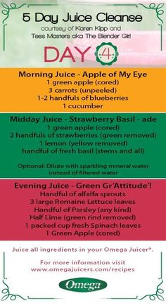 5 Day Juice Cleanse Day 4 - Keep #Juicing & Keep #Detoxing with Omega Juicers! http://omegajuicers.com/recipes/recipe-type/5-day-juice-cleanse/: