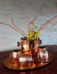 A Centerpiece of Hazelwood Branches and Thrifted Copper Finds - Audrey Would!