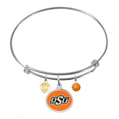 Stainless Steel One Crystal One Crystal College Jewelry Petite Louisville Cardinals Bangle Bracelet with 10mm Charm