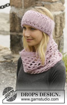 """Autumn Damask - Crochet DROPS head band and neck warmer in """"Karisma"""" and """"Kid-Silk"""". - Free pattern by DROPS Design Bonnet Crochet, Crochet Beanie, Crochet Shawl, Crochet Stitches, Knitted Hats, Knit Crochet, Crochet Patterns, Autumn Crochet, Knitting Patterns"""