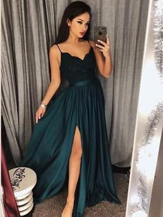 A Line V Neck Dark Green Lace Prom Dress with Slit, Dark Green Lace Formal Dress, Lace Evening on Storenvy Source by dresses idea Dark Green Prom Dresses, Split Prom Dresses, Prom Dresses Two Piece, Homecoming Dresses, Homecoming Flowers, Homecoming Themes, Sexy Dresses, Ivory Dresses, Formal Dresses