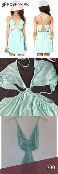 "Nasty Gal Nasty Gal aqua cut out dress, Women's size M. In great pre-owned condition. Measurements: Length 30"", Bust 32"", Waist 28"", Hips 42"". Nasty Gal Dresses"