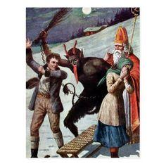 Have a Very Scary Christmas: Krampuskarten (Vintage Greeting Cards) Vintage Greeting Cards, Vintage Postcards, Holiday Postcards, Victorian Christmas, Vintage Christmas, Dark Christmas, Vintage Santas, Gravure Photo, Very Scary