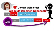 Free German videos with PDFs of various topics - word order - subordinated clauses