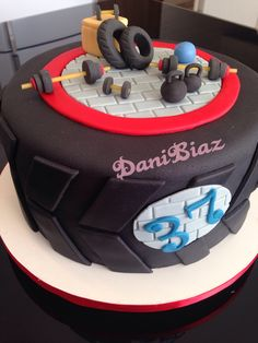 Truck Birthday Cakes, Birthday Cakes For Men, 18th Birthday Party, Fondant Cakes, Cupcake Cakes, Cupcakes, Bolo Crossfit, Fitness Cake, Gym Cake