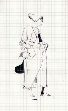 Rei Kawakubo vorrei solo far notare, biro a mano su foglio a quadretti. arte