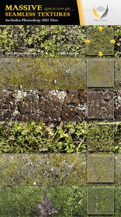 6 Seamless Moss Textures  #GraphicRiver         All 6 textures in this file have been designed at the massive resolution of 1500×1500px so that you can scale them all the way from close up detail of the content out to a fine repeating pattern.  The download itself contains;     6 full color jpg files    1 Photoshop PAT file including 6 patterns    A detailed help file for using the .PAT file in Photoshop   The textures can be used when designing;     Web pages    Twitter pages    3D…