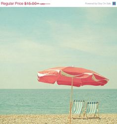 SALE 25% OFF Landscape Photography, Seaside Decor, Beach Umbrella Art, Parasol, Pastel Red and Blue Bathroom Art, Summer, Retro - Deserted B