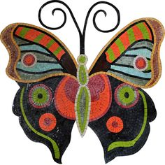Colorful Butterfly Marble and GlassMosaic