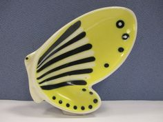 1950s Hornsea Pottery Yellow Butterfly Dish by John Clappison