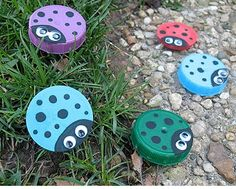 Lady Bugs made from milk bottle lids