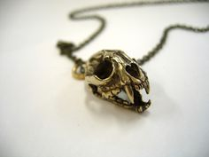 Cat Skull Pendant Cat Skull Necklace with Articulated Jaw  Bronze Cat Skull Jewelry - Moon Raven Designs 102.