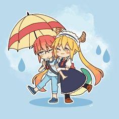 Kobayashi x Tooru (Kobayashi-san-chi no maid Dragon) Manga Anime, Anime Art, 2017 Anime, Kanna Kamui, Kobayashi San Chi No Maid Dragon, Dragon Names, Miss Kobayashi's Dragon Maid, Manhwa, Kyoto Animation