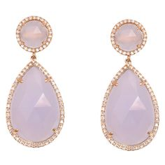 Rose Gold and Diamond Chalcedony Earrings  21st Century  14 k Rose Gold and Diamond Super Sensual soft Chalcedony drop earrings.  $1600