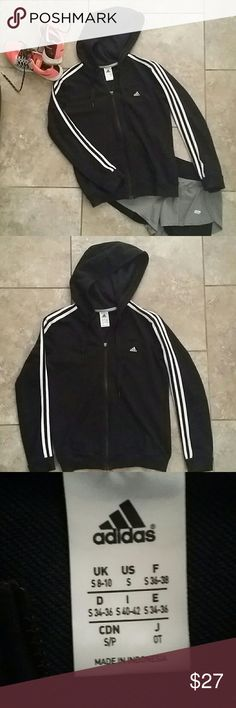 CLASSIC ADIDAS TRACK JACKET Classic style, black with white stripes on sleeves. Has no thumb holes. No rips, stains or fading. Machine wash. Material posted in last pic.❤❤❤ Firm price! Adidas Jackets & Coats
