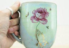 Handmade Pottery Mug Vintage flowers and by ClaraLanyiCeramics