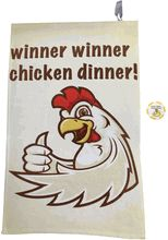 """The Full Color Winner Winner Chicken Dinner Golf Towel is a 16"""" x 24"""", absorbent velour, Turkish combed cotton blended towel. No more clunky metal hooks and hardware - each towel has its own sewn in loop for easy hanging. But wait, there is more ... it comes with a poker chip! The Winner Winner Chicken Dinner Poker Chip is a 1.5""""D, quality, double sided printed chip with a matte finish."""
