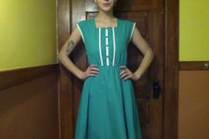 Vintage Alice in Wonderland Teal Sleeveless Dress with White Stripes & Buttons