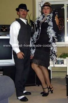 Homemade 30's Gangster and his Dame Costumes: These gangster costumes were for a Halloween party 3 years ago.  We bought most of my husband's costume at a thrift store. The watch chain was really just