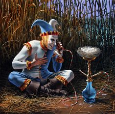 """""""Talk to the Future"""" by Michael Cheval -Original Oil on Canvas 16 x 16 Isn't it silly!"""