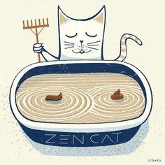 """""""Zen cat  #zen #cat #catstagram #toilet #meditation #calmdown #iconeo #design #illustration…"""""""