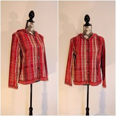 Christopher & Banks Plaid Hooded Jacket Cotton Button Front Size Large 2 Pockets #ChristopherBanks #BasicJacket #ChristopherBanksJacket #ChristopherBanks #Kimmytstreasures
