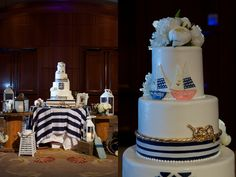 Nautical Four Tier Wedding Cake / LVL Weddings & Events/Photography: Christine Bentley Photography/Videography: Shaun Paul Creative/Floral Design: Inviting Occasions, Personal floral by bride's aunt/Venue: Balboa Bay Resort/Officiant: Pastor Jeremy Treat/Rentals: Classic Party Rentals/Linens: La Tavola Linen and GBS Linen/DJ: Honored Occasions/Beauty: Design Visage/Cake: Sweet Art Fine Swiss Confectioner/Paper Goods: AmpersandInk/Late Night Snack – Hannah's Bananas/Photobooth: Shutterbooth