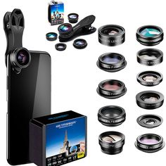 Phone Camera Lens 5 in 1 Kit, Zoom Angle Lens & Macro Lens+CPL for iPhone for Smartphone, for Android, for Samsung. Gifts For Tech Lovers, Cool Tech Gifts, Iphone Camera Lens, Android Camera, Samsung Android Phones, Buy Phones, Great Gifts For Women, Wide Angle Lens, Zoom Lens