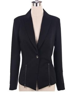Dress for success with this sleek and stylish zippered blazer. With curved tailoring and modern lines, the blazer features a single front button, zippered front and sleeve detailing for an on-trend and flattering design. 100% Polyester. Available in White and Black. Small, Medium, Large. $34.99