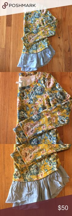 Anthropologie Unique Ruffle Sweatshirt Super cute terry sweatshirt in EUC. Smoke and pet free home. Looks great with skinny jeans! Make it yours now 🙌☃️👍 Anthropologie Tops Sweatshirts & Hoodies