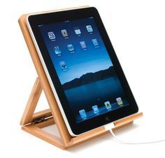 This would be nice in the kitchen! Bamboo iPad Stand at Cost Plus World Market ------- Natural aesthetic meets techno-savvy practicality (for iPad, tablet or e-reader) for him, Day Tablet Stand, Laptop Stand, Phone Stand, Support Ipad, Lipper International, Ipad Holder, Tablet Holder, Laptop Desk, Ipad Tablet