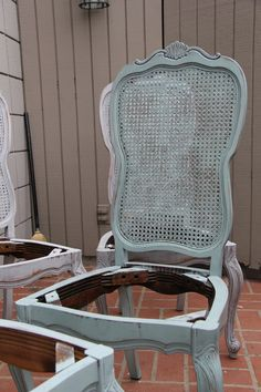Annie Sloan on old dining chairs.  Paris Gray and Duck Egg.