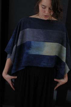 Dark Storm Block Top #silknoil #silk #handmade #dipdye #deepblue #sustainablefashion #smallscaleproduction Tunic Tops, Textiles, Unique, Women, Fashion, Moda, Women's, La Mode, Fasion