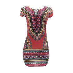 Love J - Women's Dashiki Colorful Top/Mini Dress - Burgundy