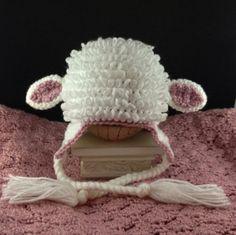 Crochet Lamb Hat - Custom Made Any Size Any Color